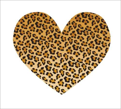 Leopard Skin Leperd Skin Heart Luv Hart Sticker Decal Vinyl Car Decor Waterproof