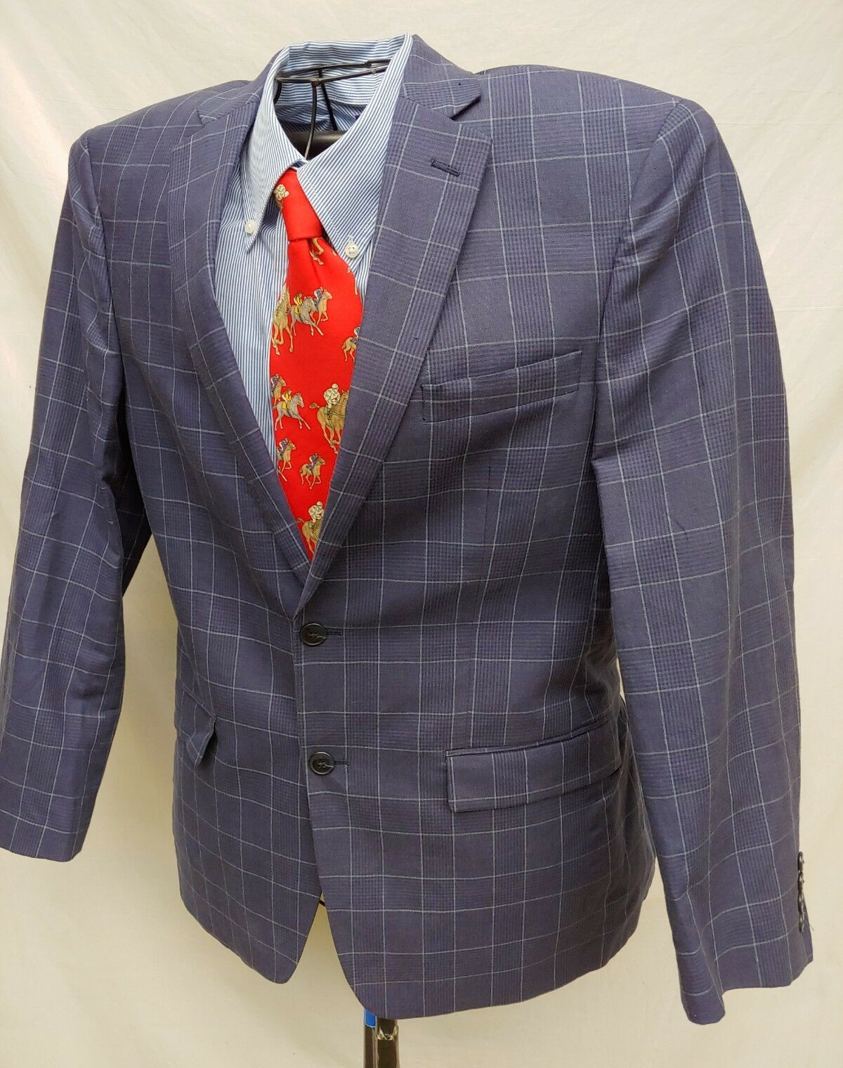 VANHEUSEN STUDIO 38R SPORT COAT NAVY Blau WINDOWPANE LINEN BLEND BLAZER LINED