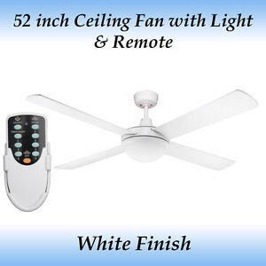 Fias Genesis 52 inch (1300mm) White Ceiling Fan with Light and Remote