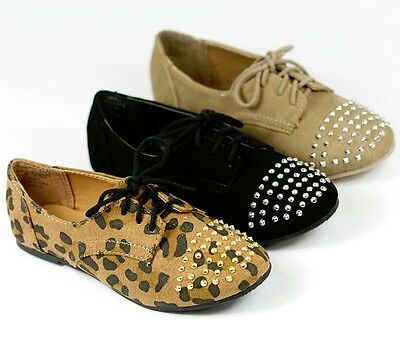 GIRLS KIDS FLAT LOAFERS OXFORD SHOES HAPPY SODA LEOPARD BLACK BEIGE