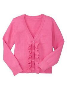 NWT Baby GAP Ruffle Cardigan Sweater 100% Cotton Knock Out Pink 18 ...