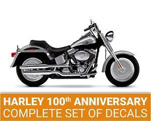 Harley Davidson 100th Anniversary Fat Boy Flstf Decals Stripes Full Set 102 Ebay