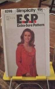 Vtg-ESP-Simplicity-8398-misses-ruffled-neckline-dress-gathered-waist-sz-8-12-NEW