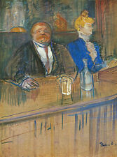 Die Bar Henri Toulouse-Lautrec Paar Theke Trostlosigkeit Glas Bütten H A3 0522