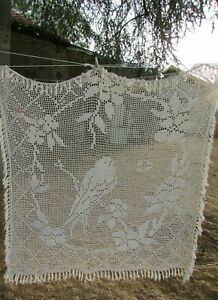 Antique-French-Hand-Crafted-Cotton-Crochet-Bird-Panel-Bed-Throw-c1920s-5ft-x-5ft