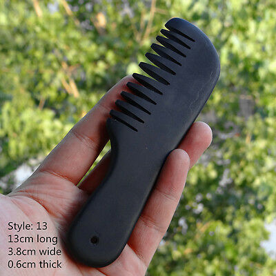 """China Black Natural """" Bian stone """" Wide Toothed Comb , Head Massage Gua Sha"""