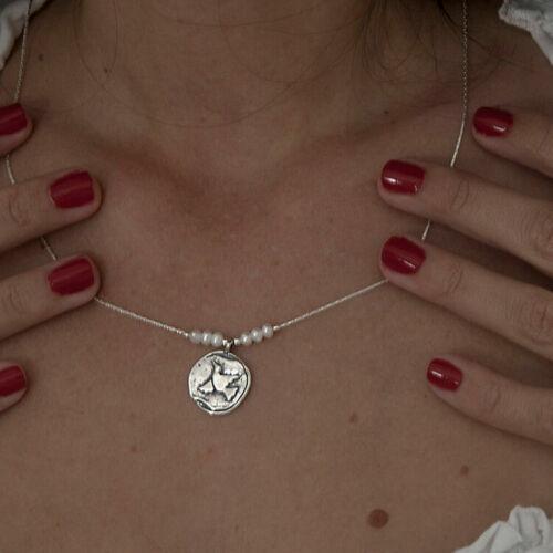 Shablool Bijoux Blanc eau douce Perles Argent Sterling 925 Collier