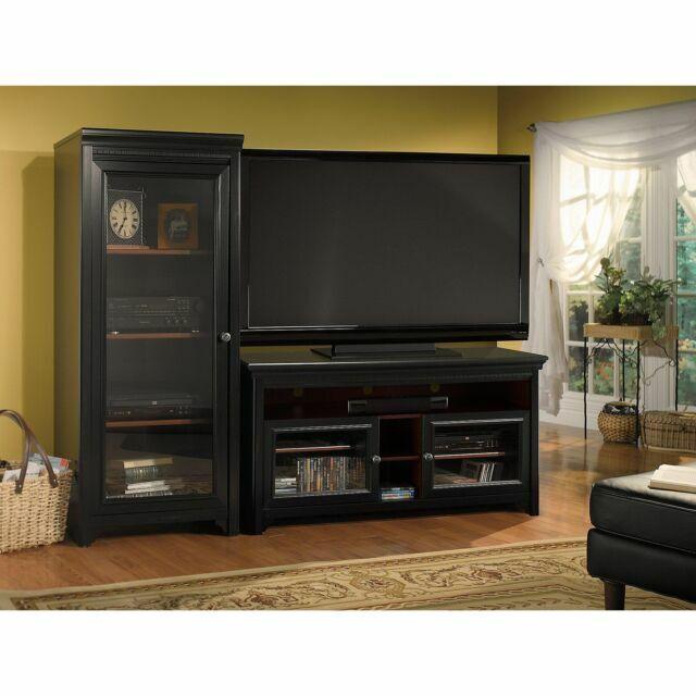 Bush Furniture Stanford Antique Black Audio Cabinet Ad53940 03 For Sale Online Ebay
