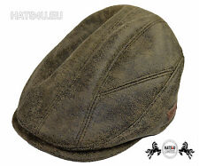 Suede Faux Leather Soft Flat Cap Snapback Adujstable Size Fits All  - Brown