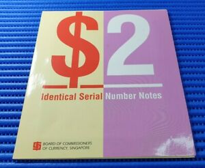 Singapore Ship Series $2 Identical Serial Number Notes CU & JU 575236 Currency