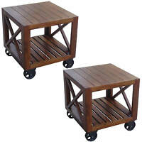 Pair/lisbon Tables On Wheels Side Coffee Bedside Solid Acacia Wood Lamp Stand