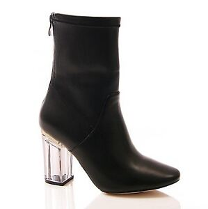 New Womens Zip Up Clear See Through Block Heel Ankle Boots in Black Smoke UK 3-8