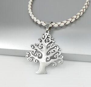 Silber-Blume-des-Lebens-Edelstahl-Anhaenger-Weiss-Lederband-Halskette-Geflochten