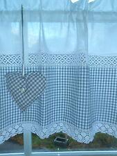 Trendy Paese Casa Tenda vetri Tenda Grigio-Bianco Vichy A Quadri cuore shabby/N. 48