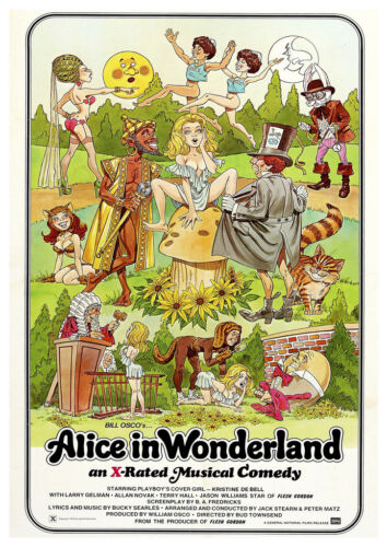 Old Advertising  Poster reproduction Alice in wonerland X Rated