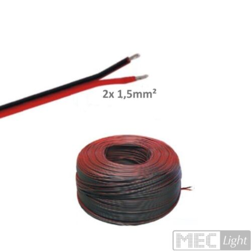 5-100m LED Leitung Zwillingslitze 2x 1,50mm² rot//schwarz 2-adrig 0,59€//m