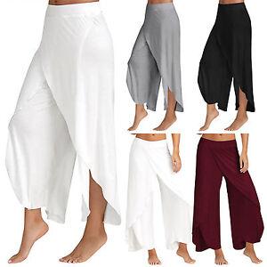 Mujer-Chiffon-Abierto-Falda-Pantalones-Informales-Palazzo-cintura-alta-Ancho