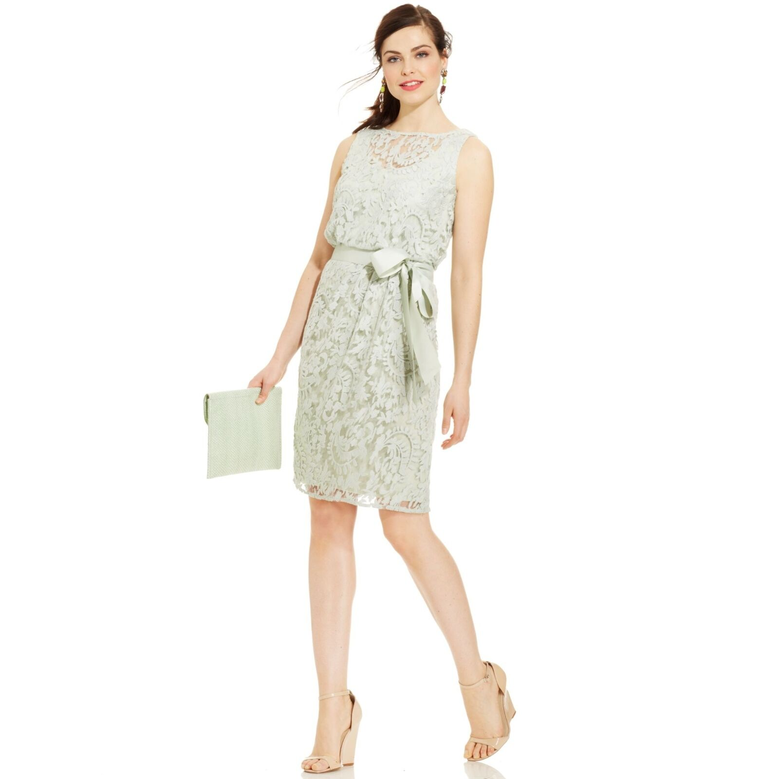 ADRIANNA PAPELL SLEEVELESS ILLUSIONS LACE BLOUSON BELTED DRESS sz 10