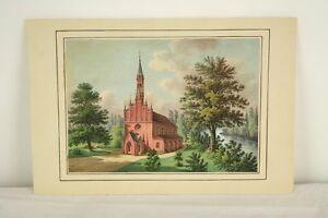 Gouache-Malerei-Backsteinkirche-Backsteingotik-um-1830-northern-school-church