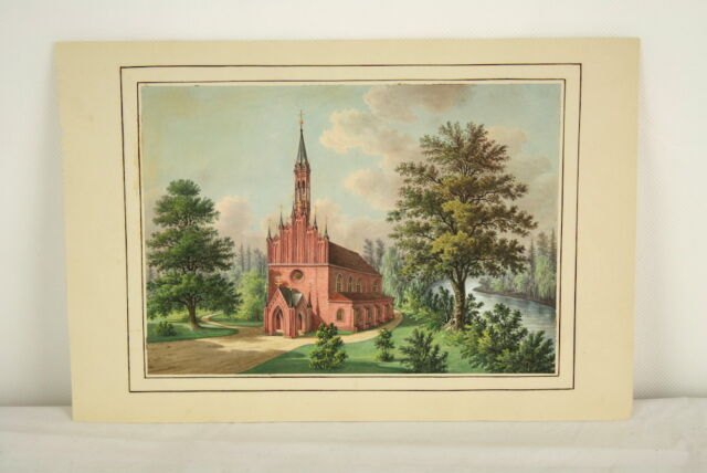 Gouache Malerei Backsteinkirche Backsteingotik um 1830 northern school church