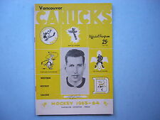 1963/64 VANCOUVER CANUCKS SEATTLE TOTEMS WHL HOCKEY PROGRAM LARRY POPEIN SHARP!!