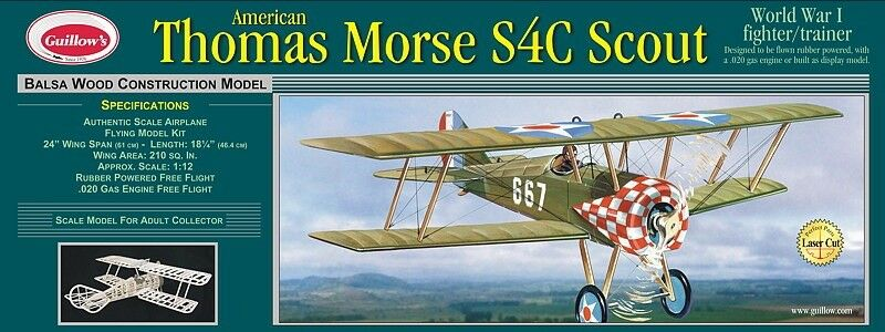 Guillows 1 12 Thomas Morse Scout balsa flying model