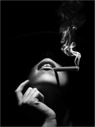 Johan Swanepoel Premium poster Woman smoking a cigar