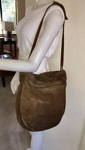Image is loading BOTTEGA-VENETA-Brown-Suede-Hobo-Bag-Vintage d337de5290da9