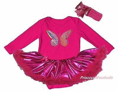 Useful Rainbow Butterfly Hot Pink Cotton L/s Bodysuit Bling Girl Baby Dress Set Nb-18m Attractive Designs; Baby Clothing