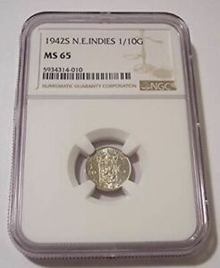 Netherlands East Indies (Indonesia) 1942 S Silver 1/10 Gulden MS65 NGC