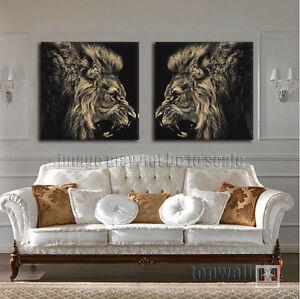 Framed Roaring Lion King B W Hd Print Modern Canvas Wall