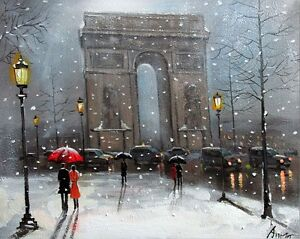 100-HAND-PAINTED-ART-ACRYLIC-OIL-PAINTING-SNOWY-CITYSCAPE-CANVAS-16X20INCH