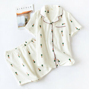 Harajuku Women Pajamas Sets Cotton Print Short Sleevesleepwear Cartoon Homewear Ebay
