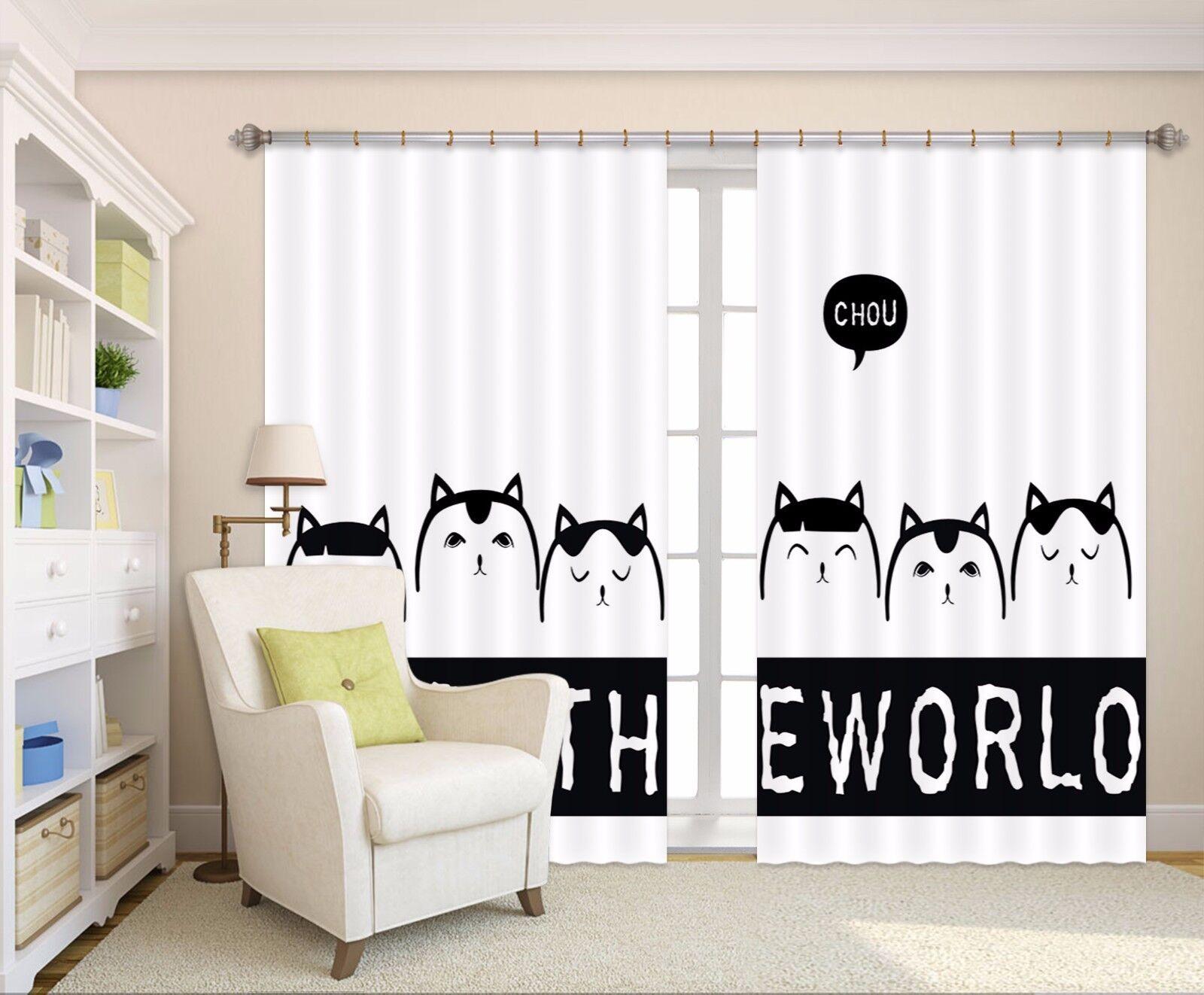 3D Gatos Pintado a Mano 63 cortinas de tela de impresión de cortina de foto Blockout Ventana CA