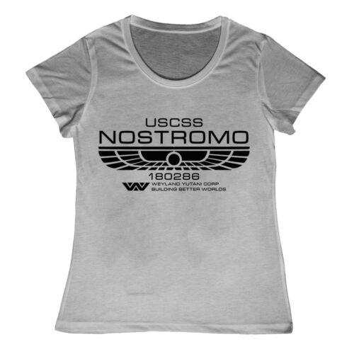 Ladies Nostromo Crew Member T Shirt Weyland Yutani Aliens Film Movie M41A Pulse