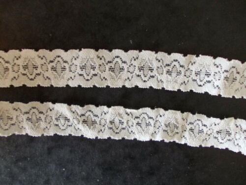 STRETCH Ivory soft knit style floral shaped lace 5m 2 x 2.5m lengths