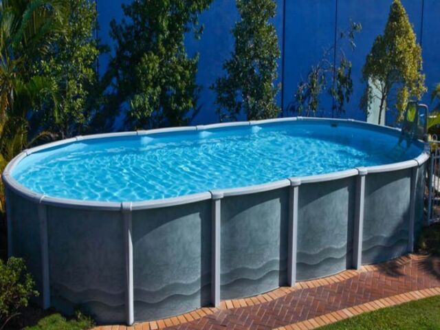 Oval Above Ground Swimming Pool 6.7m x 3.6m x 1.37m (2019 Braceless Design)