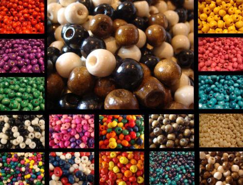 400 en bois ronde perles de bois 6mm Large 5mm haute 2 mm trou beaucoup de couleurs