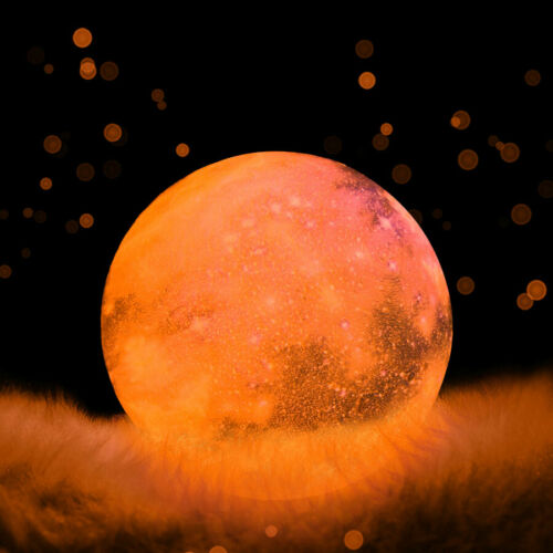 Moon Lamp Rechargeable LED Night Lunar Light 3D Printing Touch Desk Home Decor