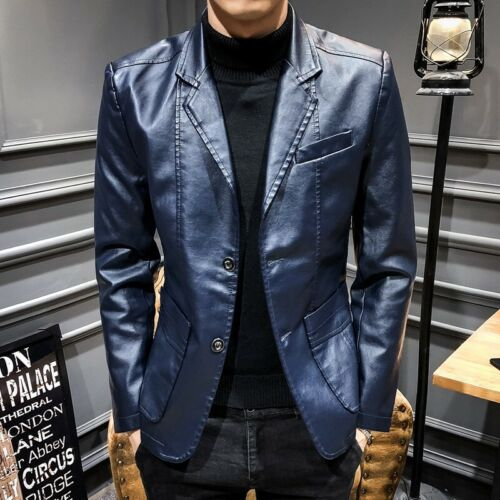 Men/'s Leather Jacket Slim Fit Two Button Blazer Lapel Coat Fall Casual Party New
