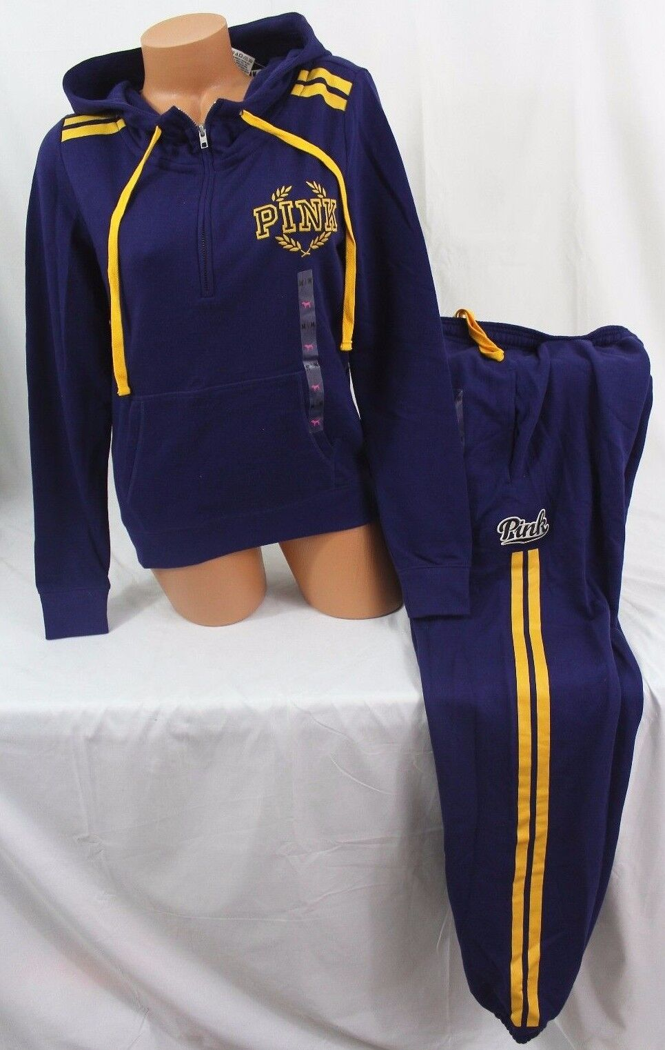 Victoria's Secret PINK sz M setPerfect ¼-Zip Hoodie & Campus Pant bluee gold