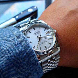36mm-Parnis-Silber-dial-Saphirglas-Miyota-Automatisch-movement-Uhr-men-039-s-Watch