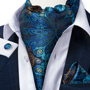 Mens-Blue-Green-Cravat-Silk-Ascot-Woven-Neck-Tie-Pocket-Square-Cufflinks-Set