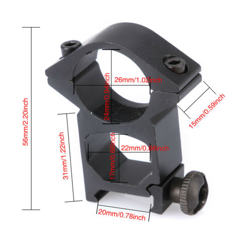 "2Pcs Bike Bracket Scope Rings See-Thru 1/"" Rifle Scope Mount fits for 20mm Rails"