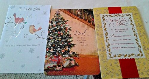 """FREE SHIPPING! ROMANTIC /""""I LOVE YOU AT CHRISTMAS /& ALWAYS/""""  CARD~RETAILS $6.29"""