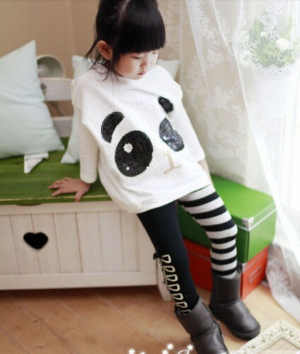 striped pants Kids Clothes Set 2pcs Toddler Infant Girls Outfits panda coat