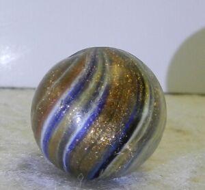 #11656m Large .79 In Vintage German Handmade Onionskin Lutz Marble Lots of Lutz