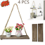 Wooden-Hanging-Shelf-Swing-Floating-Shelves-Rope-Wall-Display-Rack-Home-Decor thumbnail 2