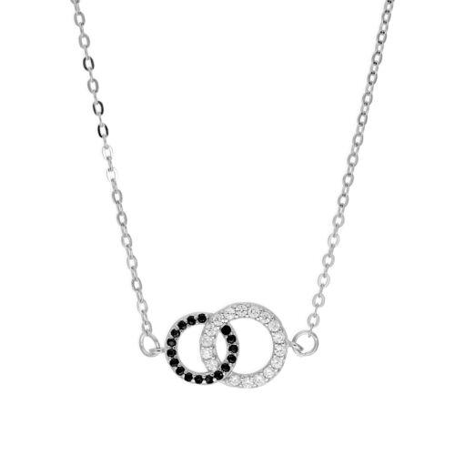 Real /& Cristal de la CZ plata esterlina 925 Círculo Collar Karma La Eternidad Infinity