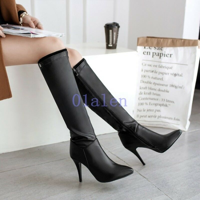 Women's Knee High Boots Slouch Pointed Toe Leather High Stiletto Heels Zip Shoes